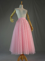Women Pink Plaid Skirt A Line Long Plaid Skirt Pink Tulle Skirt image 7
