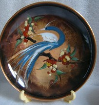 COPPER Hand Painted ENAMEL DISH HOLLAND Signed BIRD of Paradise BLUE HER... - $14.80