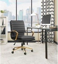 Modern Faux Leather Office Desk Chair Gold Finish Base Mid Back Lumbar S... - $303.93