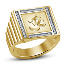 Mens Om Wedding Engagement Diamond Ring 14k Gold Finish 925 Sterling Rea... - £73.59 GBP