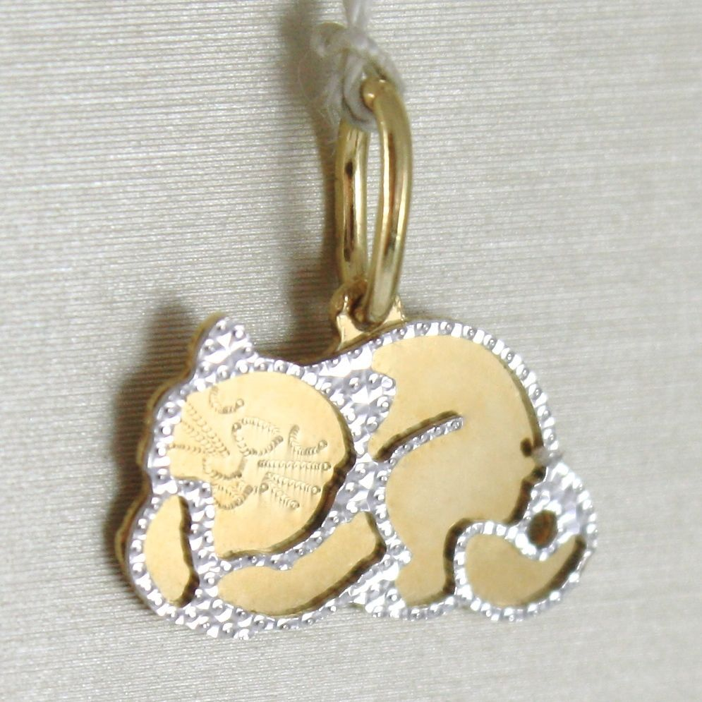 YELLOW GOLD PENDANT WHITE 750 18K, CAT DOUBLE LAYER, PENDANT, 1.4 CM