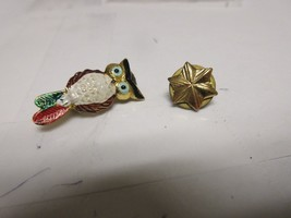 "Costume Jewelry ,Vintage , Pin , Owl  1""x 1/1"" ,  Gold Leaf 1/2"" X 1/2"" - $20.00"