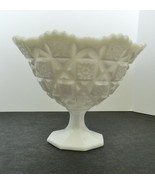 Westmoreland Old Quilt Pattern Milk Glass Footed Comport / Compote Sawto... - $19.68