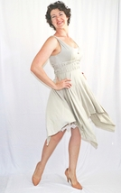 Green Wrapped Bodice Dress with Ivory Slip Dress, Handkerchief Hem, Lace Trim