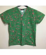 Christmas Scrub Top Cane Lollipop Hearts Medical Scrubs Size Medium - $18.80