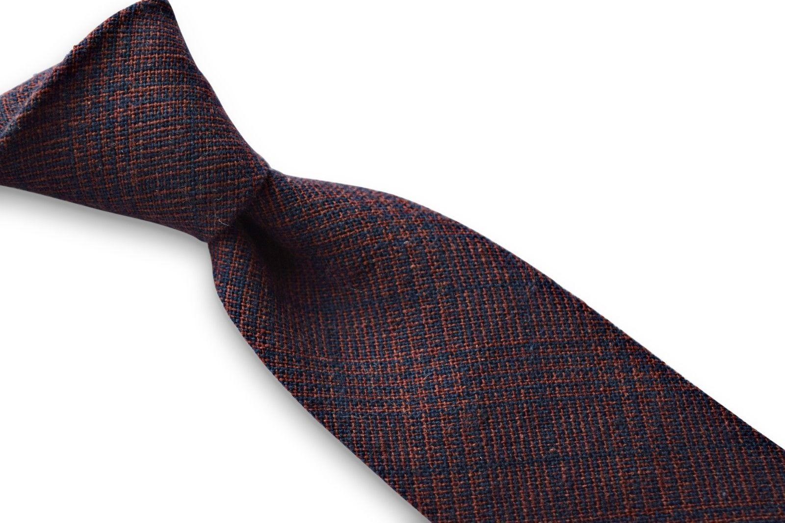 Frederick Thomas navy blue and orange check tweed wool men's tie FT3365