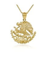 10K Solid Yellow Gold Mexico Mexican Eagle Coat Of Arms Pendant Necklace - $197.90+
