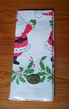 "Vintage Hallmark 60""x102"" Christmas Paper Table Cover Santa & Holly - $14.50"