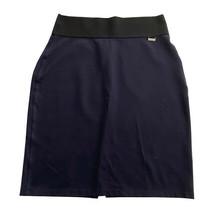 Womens Calvin Klein Large Navy Blue Power Stretch Straight Skirt L Straight - $9.89