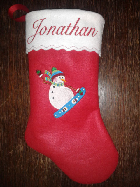 "17"" Personalized Embroidered Snowbording Snowman Felt Christmas Stocking"