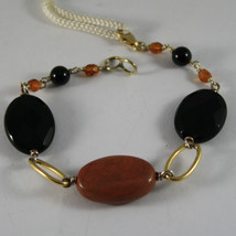 .925 RHODIUM SILVER YELLOW GOLD PLATED BRACELET WITH BROWN JASPER AND BLACK ONYX image 1