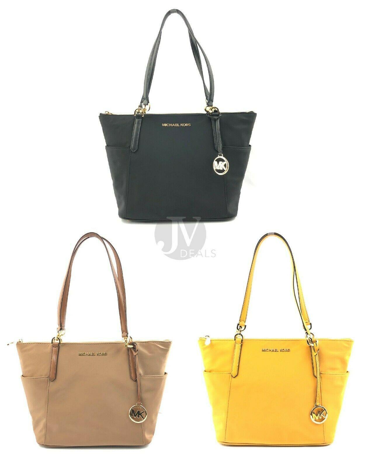 Primary image for NEW WOMEN'S MICHAEL KORS BEDFORD LARGE EAST WEST TOP ZIP NYLON TOTE HAND BAG