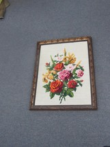 """Vintage Hand Made Stitched Needlepoint Framed 18"""" x 23"""" - 15"""" x 20"""" - £39.65 GBP"""