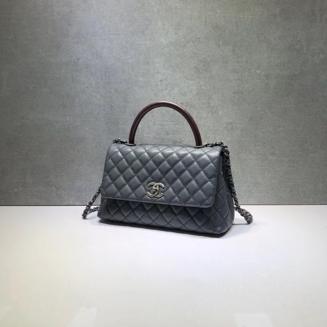 3b18d6f26dfa AUTH BRAND NEW CHANEL SMOKEY GREY CAVIAR MEDIUM PYTHON COCO HANDLE ...