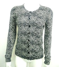 Ann Taylor Womens M Tan Black Animal Print Silk Blend Button Front Cardi... - $14.92