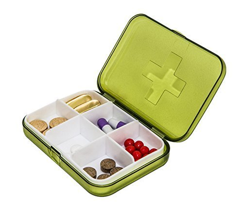 Mini Portable Sealed 6 Slots Plastic Travel Pills/Vitamins Box Organizer Green