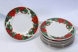 "Gibson Poinsettia Holly Ribbons Xmas Bread Plates Gold Trim 6.25"" Lot of 8 - $37.23"