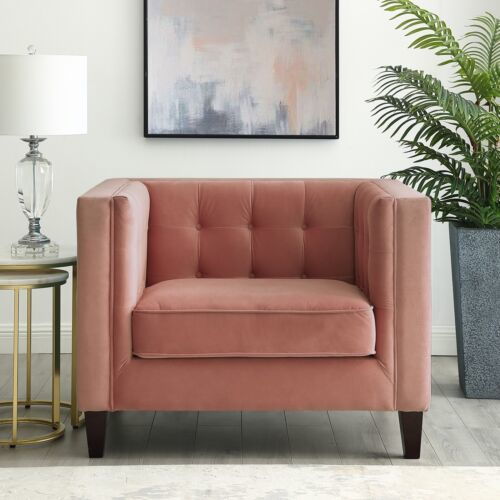 Kenn Blush Velvet Club Chair with Button Tufted