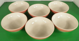 Homer Laughlin Footed All Purpose Ice Cream Bowl (s) LOT OF 6 Coral Band - $34.60