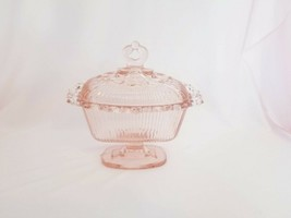 Vintage Pink Indiana Glass Oblong Candy Dish Lace Edge - $24.50