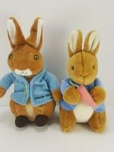 2 Peter Rabbit Brown Easter Bunny Holding Carrot Plush Stuffed Animal Bl... - $18.80