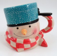 Sweet Hallmark Percy the Mitford Snowman Blue Pan Hat Jan Karon Big Figural Mug - $8.86