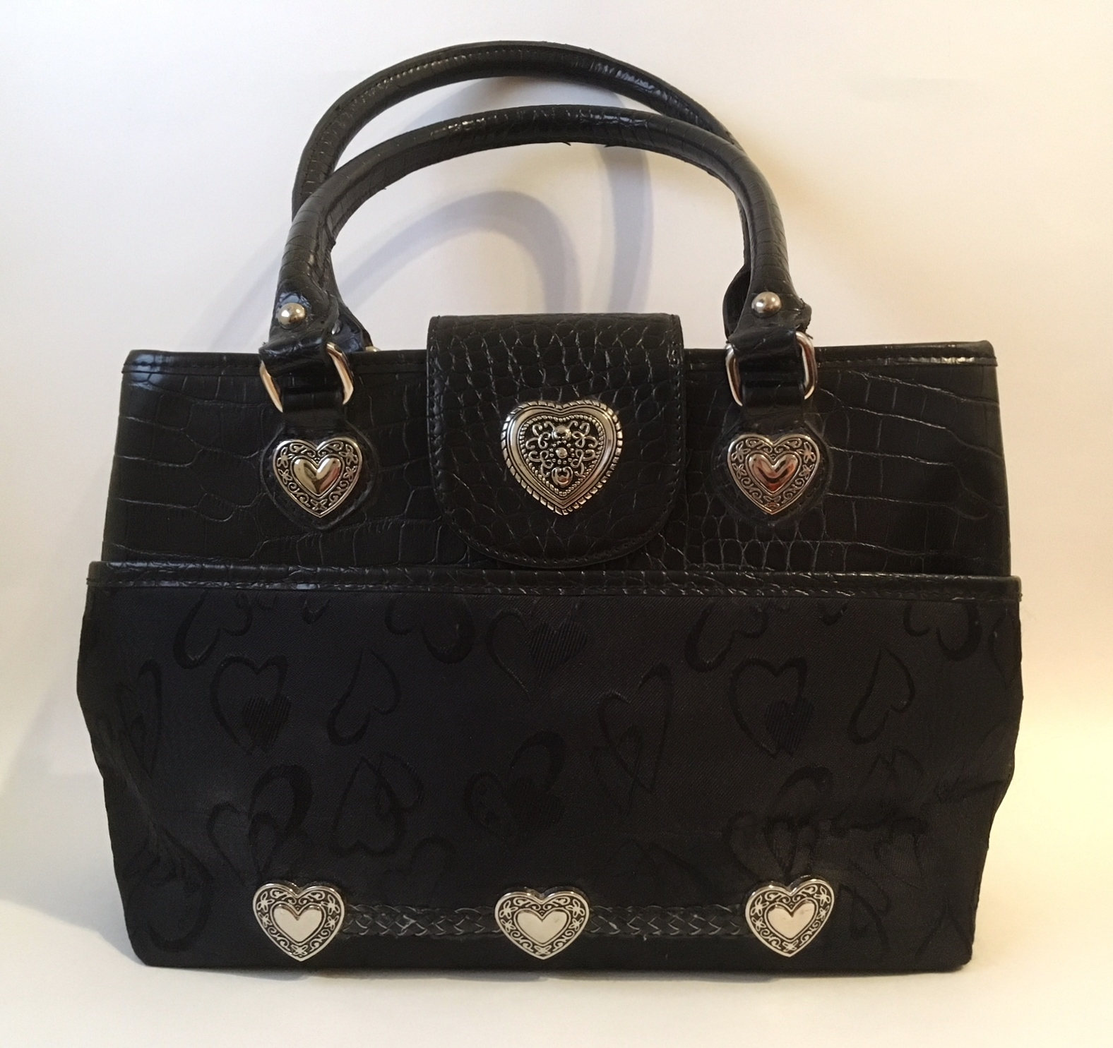 Purse black heart fabric leather  1  45  4.50