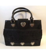 Black Purse Silver Metal Hearts Fabric Faux Croc Leather Handbag Tote Sa... - $45.00