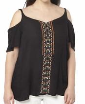 EVANS Womens US22 UK26 Embroidered Off the Shoulder Black Semi Sheer Blo... - $23.22