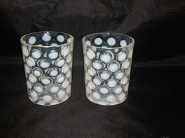 Fenton Glass 2 White Coin Dot Tumblers - $37.62