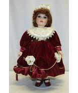 "Vintage 16"" Porcelain Doll Brown Eyes Auburn Hair  - $19.79"
