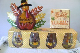 Thanksgiving Stemless Wine Glasses & Table Top Decorations  - $14.00