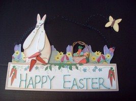 Happy Easter Sign Wood Wooden Hanging 3-D Bunny Rabbit Seasonal Home Decor  - $13.92