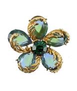 VINTAGE DESIGNER BRUSHED GOLD ORGANIC MOD BLUE GREEN TEAR DROP OCEAN WAV... - $53.45