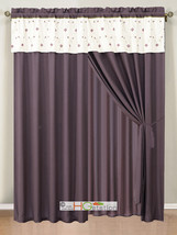 4-Pc Eden Floral Garden Trellis Embroidery Curtain Set Purple Gold White... - $30.74