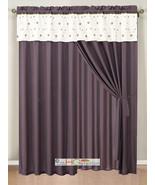 4-Pc Eden Floral Garden Trellis Embroidery Curtain Set Purple Gold White... - $30.74