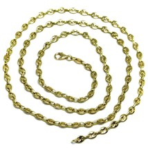 """SOLID 18K YELLOW GOLD MARINER NAUTICAL CHAIN OVAL 3mm, 24"""", ITALY MADE, NECKLACE image 1"""