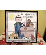 Framed Boy with Toys Home Decor Wall Hanging/Sh... - $6.00