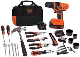 BLACK+DECKER 20V MAX Drill & Home Tool Kit, 68 Piece ,Black/Orange - $69.99