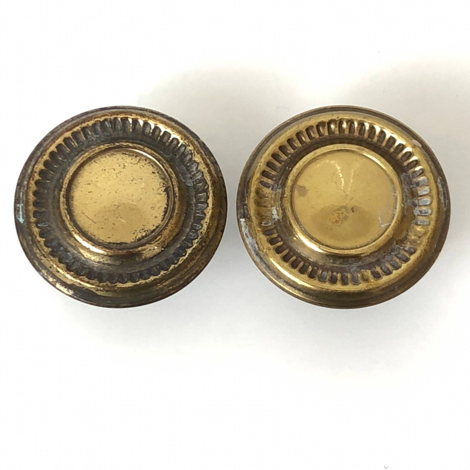 2 Vintage Brass Drawer Pulls Mushroom Knobs Handles Gold Old Patina  image 2