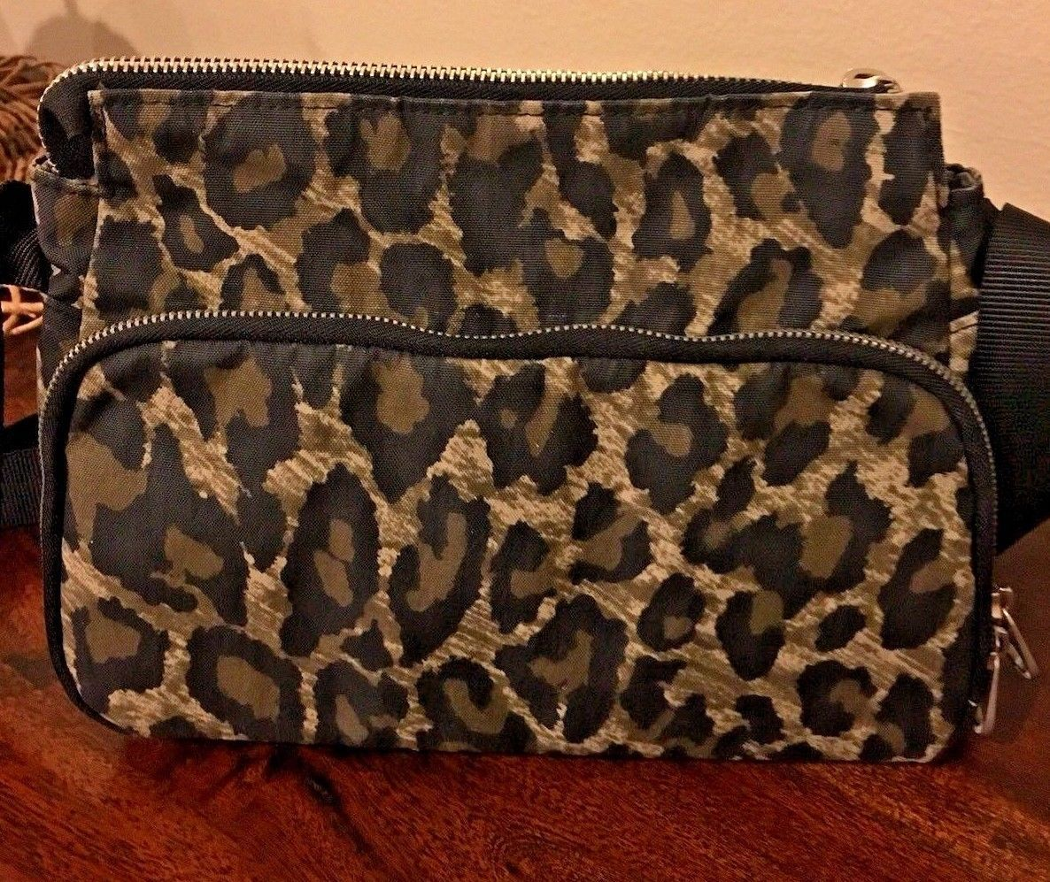 BAGGALLINI CROSSBODY PURSE Brown Black tan Animal Print Leopard