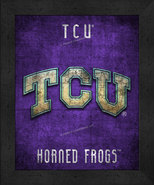 "TCU Horned Frogs ""Retro College Logo Map"" 13x16 Framed Print  - $39.95"