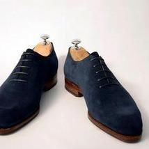 Handmade Men's Navy Blue Suede Oxford Shoes image 2