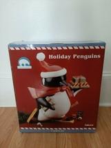 Stephanie Stouffer Sakura Holiday Penguins Cookie Jar Hand Painted Earthware  - $29.99