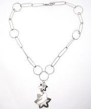 Halskette Silber 925, Kette Kreise, Doppelt Blume, Sonne Anhänger, Satin image 2