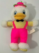 Nanco Vintage Duck White Plush neon pink overalls hat yellow striped shirt feet - $14.84