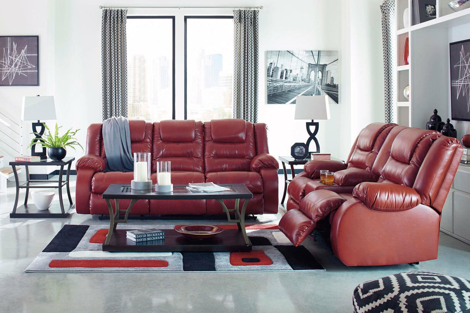 Carson modern living room furniture reclining red faux - Red leather living room furniture set ...