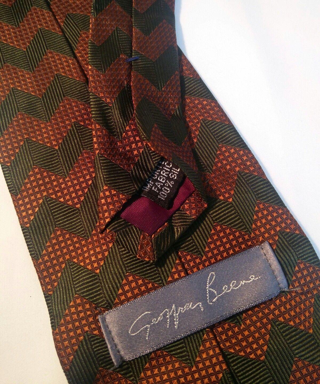 Geoffrey Beene Mens 3 Ties + CashMe Green Plaid Acrylic Scarf Handmade Silk Tie image 9