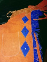 Suede Blue and Orange Chinks Cutting Horse Bronc Ranch Chaps NEW Size XL image 4