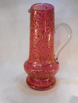 "Antique Bohemian Moser Cranberry Glass Pitcher 13"" Tall Gold Decorated - $1,282.05"